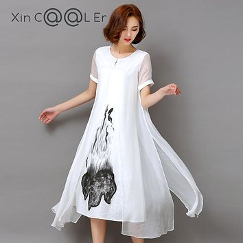 df1ccf4be1 Fashion2017 New Summer Autumn White Black Ink Print Women Long D