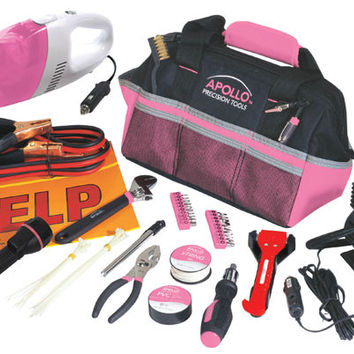 54 Piece Roadside Tool Kit w/Vacuum & Compressor - Pink