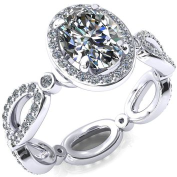Polaris Oval Moissanite 4 Claw Prong Diamond Halo Full Eternity Engagement Ring