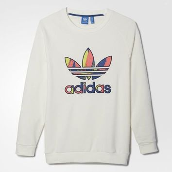 adidas Paris Logo Crew Sweater - White | adidas US
