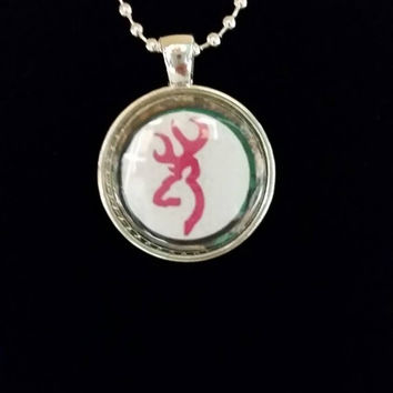 "Pink Browning Deer 1"" Pendant Necklace"