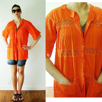 VINTAGE 1970s Orange Seersucker Aglodon & LACE Beach Cover Up Blouse Bell Sleeves
