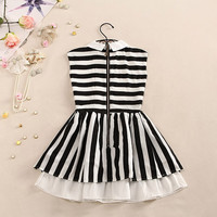 Navy Style Black & White Strip Pattern Bubble Dress