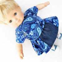 "Clothes Blue Denim Skirt set Handmade For Bitty Baby or 18"" American Girl Doll"