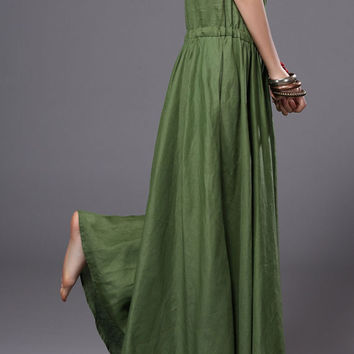 Women Linen Anklelength Long dress Sundress Casual dress Party dress Petite dress (WD11159)