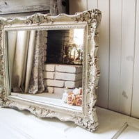 Antique Cream Patina Vintage Ornate Mirror, Shabby Chic Distressed Mirror with Faux Patina, Light Weight Plastic Mirror, French Farmhouse
