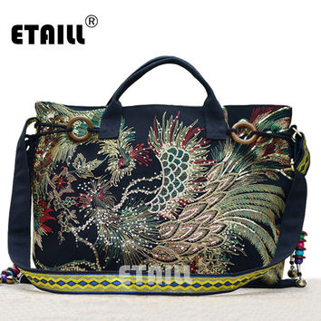 Hmong Tribal Ethnic Embroidery Shoulder Bag Chinese Handmade Thai Indian Boho Embroidered Luxury Famous Brand Logo Handbags