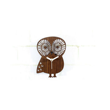 Forest Animal Feeling Cute Owl Wall Clock Vintage Countryside Wood Wall Clock Silent