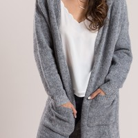 Sharon Grey Hooded Cardigan