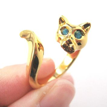 Kitty Cat Shaped Animal Wrap Ring in Shiny Gold with Turquoise Eyes | US Sizes 6 to 9