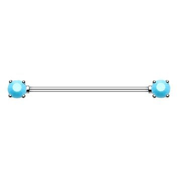 Double Prong Turquoise Gem WildKlass Industrial Barbell