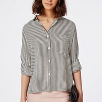 Missguided - Monochrome Thin Striped Oversized Shirt