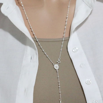 Sterling Silver Rosary Necklace, Rosary Necklace, Silver Rosary