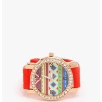 Red Wind In The Hair Rhinestone Watch | $7.50 | Cheap Trendy Watches Chic Discount Fashion for Women