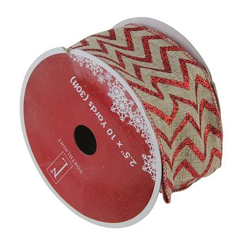 "Pack of 12 Dazzling Red and White Chevron Wired Christmas Craft Ribbon Spools - 2.5"" x 120 Yards Total"