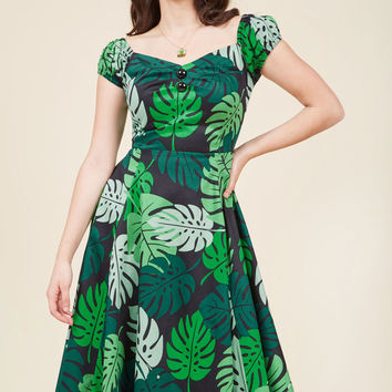 Tickle Me Picnic A-Line Dress in Tropical Fronds