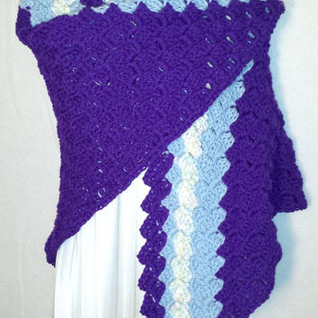 Amethyst and Blue Ladies Shawl Wrap Shawl for Men Gift for Him Her Mom Dad Holidays Christmas Gift Birthdays Mothers Day Valentines Gifts