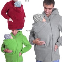 Baby Carrier US Hoodie Kangaroo Jacket For MOM/DAD And BABY Babywearing Fleece