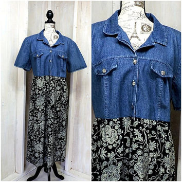 Denim floral dress / plus size 1X / 2X / 18 / 20 / vintage 80s / 90s boho maxi dress /  paisley / rayon / weekend casual / made in USA