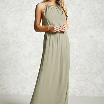 High-Neck Crinkle Maxi Dress