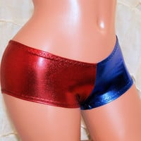 Harley Quinn Suicide Blue Red Boy Low Rise Booty Shorts Choose Size - MTCoffinz