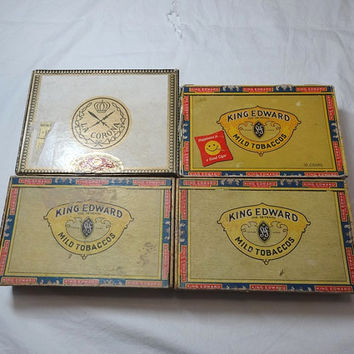 1950s & 1960s Vintage Set of 4 Cigar Boxes, La Corona, King Edward 7th, Cardboard, Men's Trinket Box, Smoking Ephemera, Vintage Cigar Box