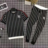 NY Summer Fashionable Men Casual Stripe Top Tee Pants Set Two-Piece Black