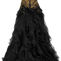 Alexander McQueen | Embroidered silk-faille and organza gown | NET-A-PORTER.COM