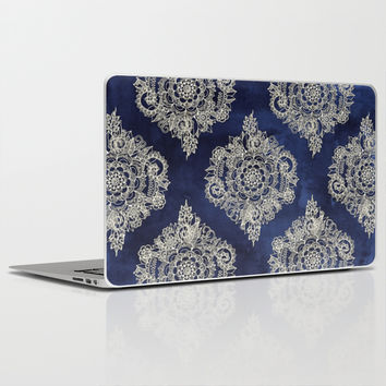 Cream Floral Moroccan Pattern on Deep Indigo Ink Laptop & iPad Skin by Micklyn