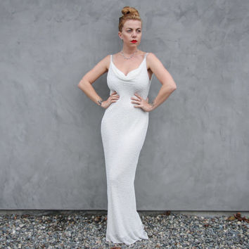 White Beaded Maxi Evening Gown by Stenay