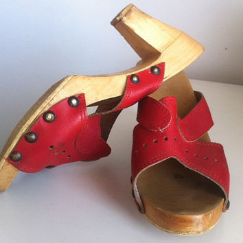 Red Leather Wooden Heels Sandals Mules by EridaneasBoutique
