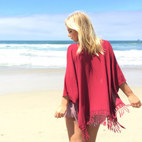Flirting With Fringe Kimono In Burgundy