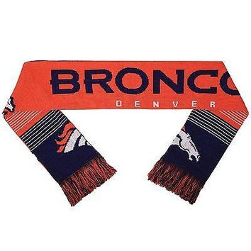 Denver Broncos Reversible Scarf Knit Winter Neck NEW NFL Split Logo