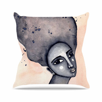 """Stacey-Ann Cole """"Yearning African American Art"""" Beige Black Outdoor Throw Pillow"""