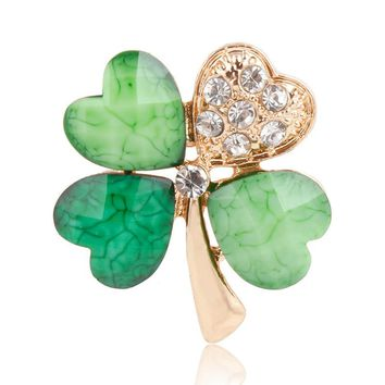 Green Four Leaf Clover and Rhinestones Lapel Pins or Brooches for Women or Men in Assorted Designs