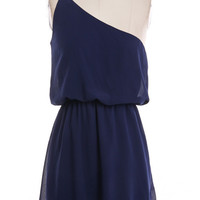 One Shoulder Strappy Dress - Navy