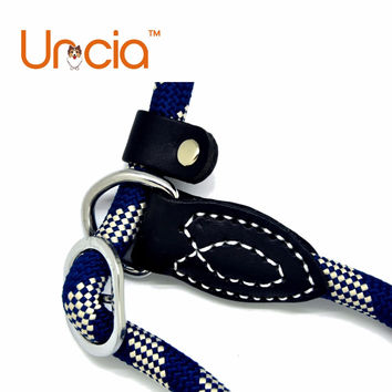Navy and White Reflective Nylon Pet Dog Training Leash and collar set Comfortable new design