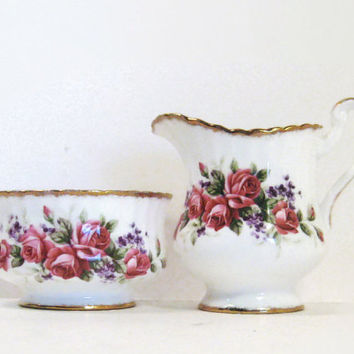 Paragon Cream and Sugar Set English Rose Floral Fine Bone China Cream Pitcher & Open Sugar Bowl