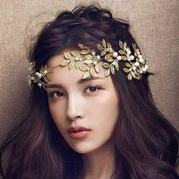 LMFUV2 Golden metal leaf olive branch hair headband and hairpin