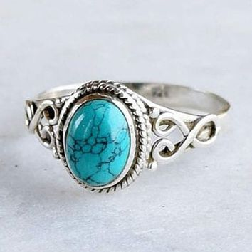 Antique Style Jewelry 925 Sterling Silver Turquoise Natural Gemstone Bride Wedding Engagement Vintage Ring Gifts Size 6-10