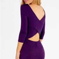 Purple Ladies Crew Neck Long Sleeve Plain Cut Out Bodycon Dress - MelodicDay