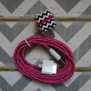 New Super Cute Jeweled Black & White Chevron Design Wall iphone 4/4s/4g Charger + 10ft Hot Pink Braided Cable Cord Super Long