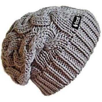 Frost Hats Winter Hat for Women GRAY Slouchy Beanie Cable Hat Knitted Winter Hat Frost Hats One Size Gray