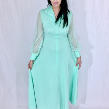Vintage 70s Mint Green JC Penny Fashions Polyester Long A-line Sheer Poet Sleeves Witchy Maxi Dress with Fold Over Collar M // S