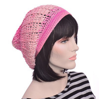 Slouchy Beanie Hat Boho Neon Pink Women Silk Ribbed Fade In Fade Out Pink