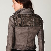 Free People Embellished Leather Jacket