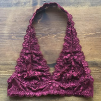 A Lace Halter Bralette in Wine