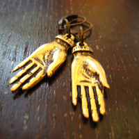 golden frida kahlo hands earrings, funky jewelry * free shipping *