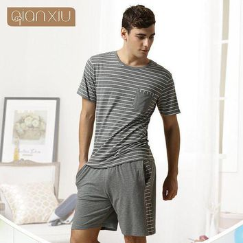 Qiaxniu Pajamas For Men  Couples Set Short Sleeve Shorts Classic Stripes High Grade Pajama Sets