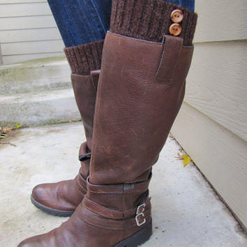 Boot Cuff-Full boot Sock sock Included- Topper-Boot Sock-Chocolate Brownl with wooden button-Full sock included
